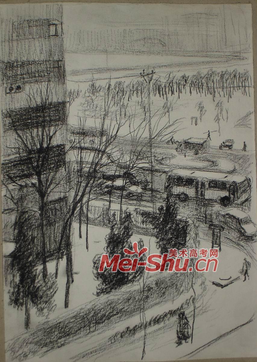 俯视的城市风景速写风景速写作品风景速写图片