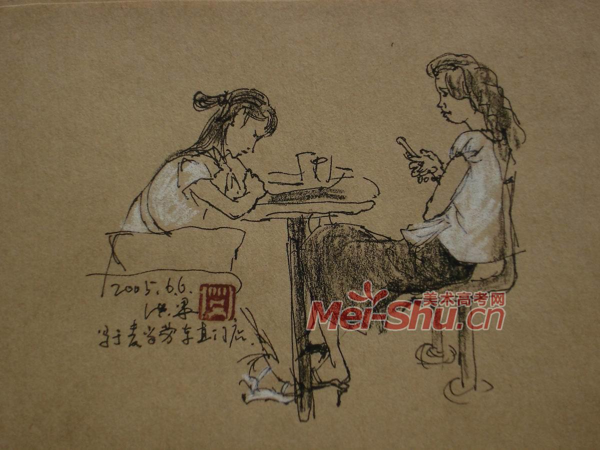3人物组合速写_人物组合场景速写,人物组合速写图片; 坐着的女青年