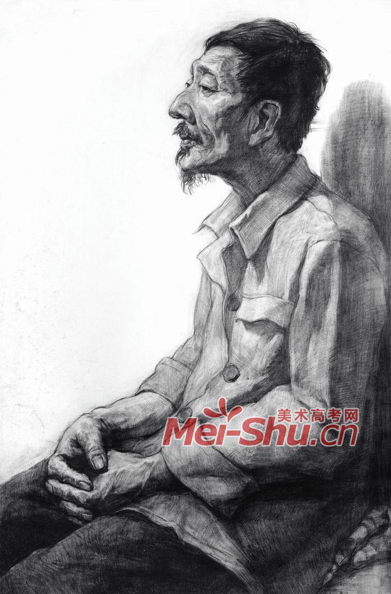 素描半身像-中年男子,坐在椅子上