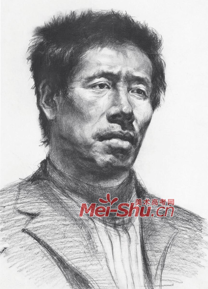 素描头像-男子头像,中年男子侧面头像