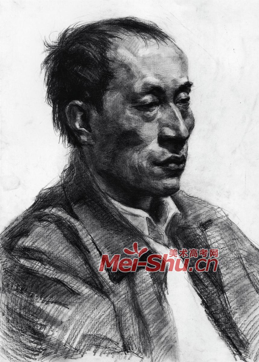 素描头像-人物头像写生,例图,范画,鼻子,眼睛,侧面,男子,中青年