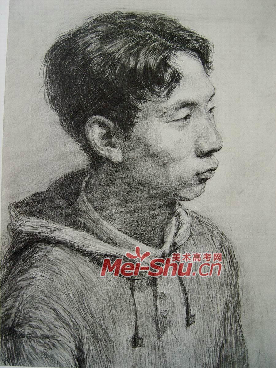素描人头像写生-人物头像,卷头发,老年人,圆脸,长脸,正侧面头像