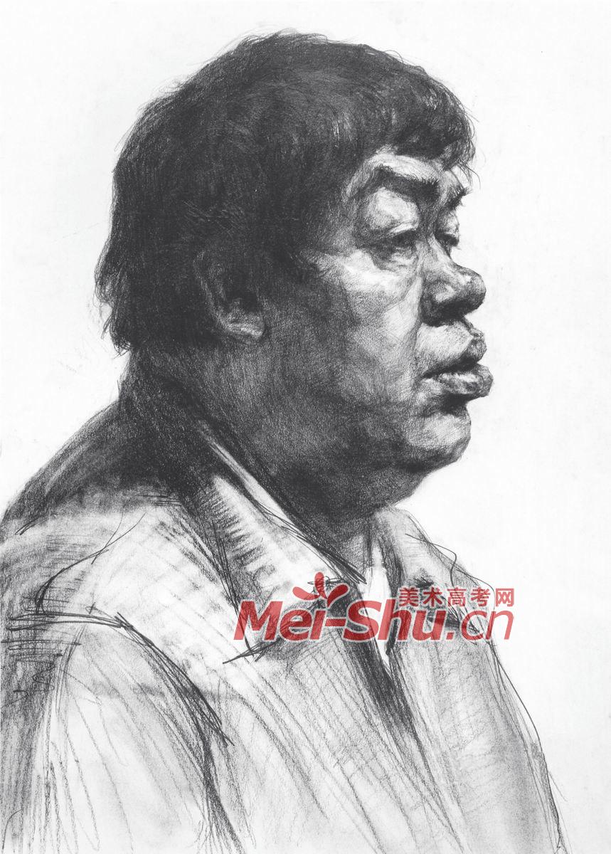 铅笔画人物侧面图片