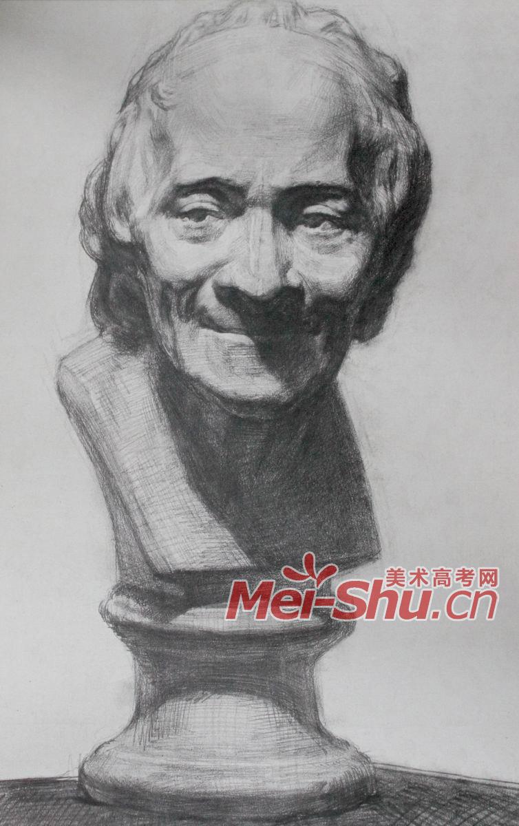 素描石膏头像-伏尔泰,头像写生,正面,侧面,顺光,逆光,顶光,石膏像