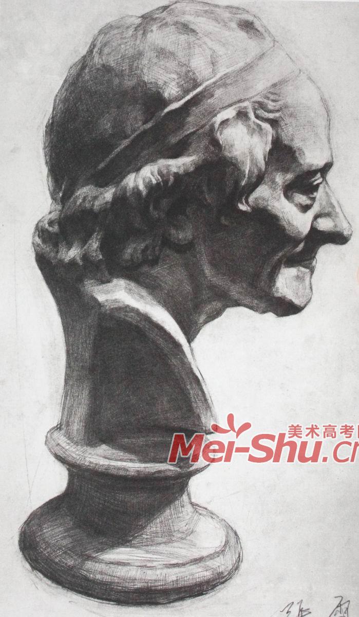 素描石膏头像-伏尔泰,头像写生