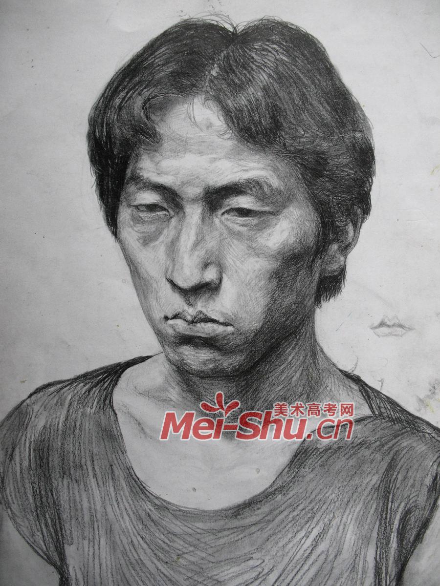 素描人头像图片-青年素描头像,侧面,长发,短发,中分,仰视(2)