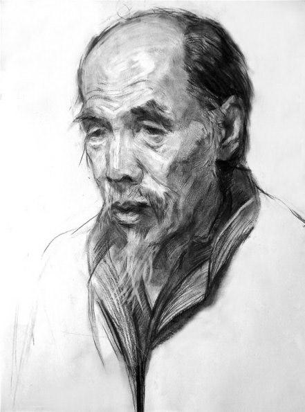 炭笔,素描头像,长胡须的人
