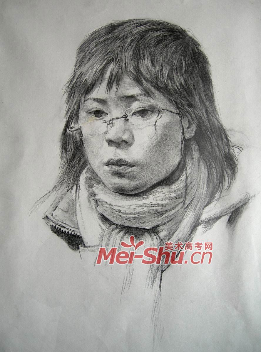 素描人头像,青年女性,女青年素描头像图片