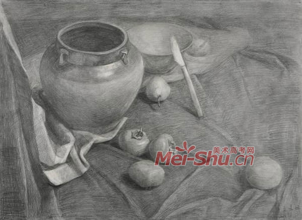 素描静物组合黑色罐子苹果梨子勺子深色台布(3)