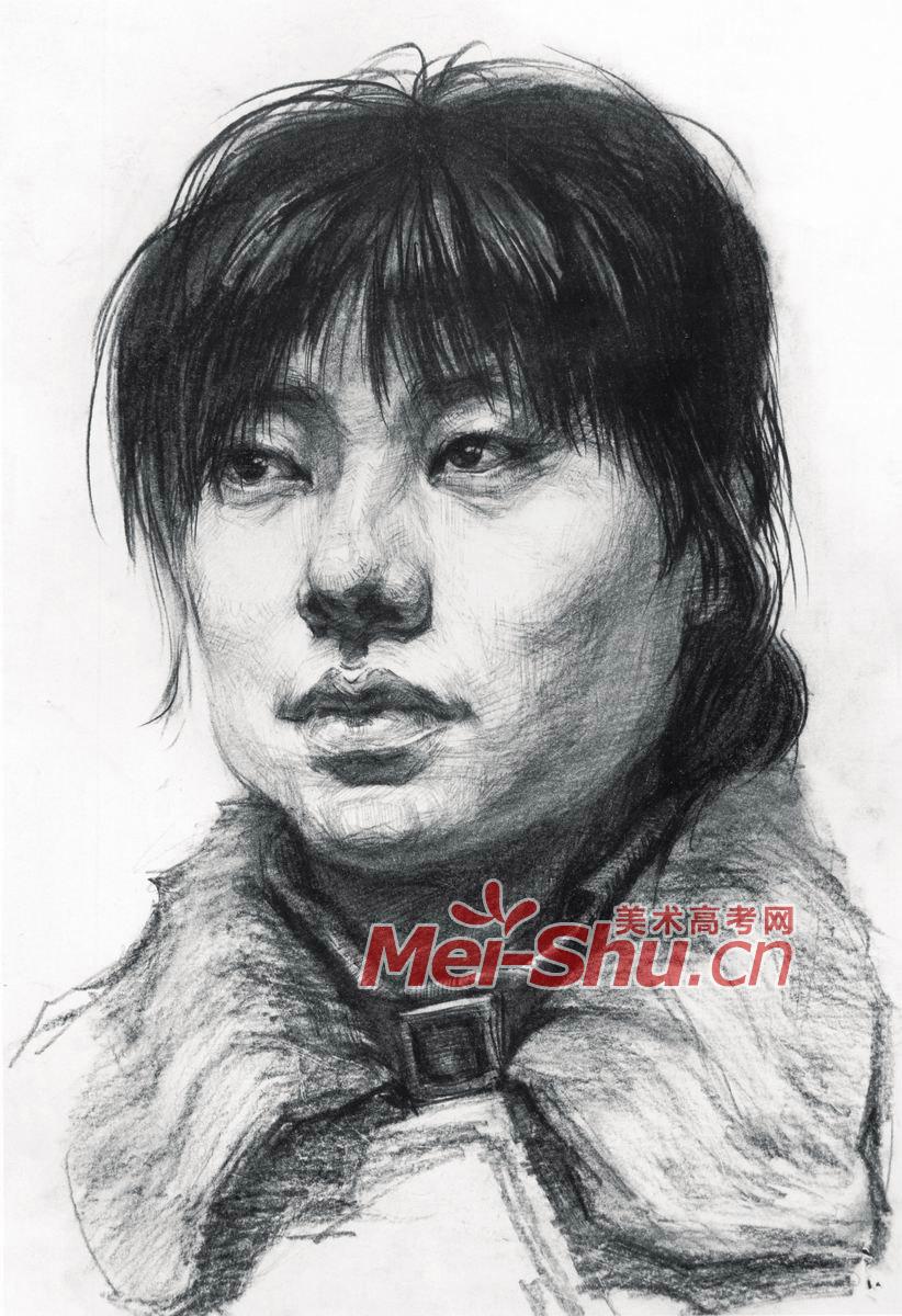 素描头像女青年中青年头像素描写中年生妇女素描技法