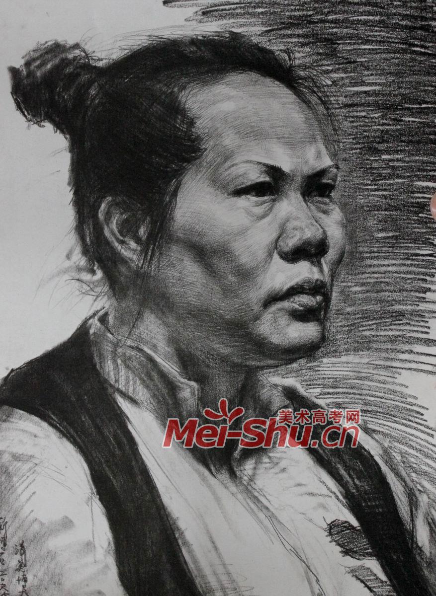 素描头像范画例图女性头像写生技法素描头像大全(2)