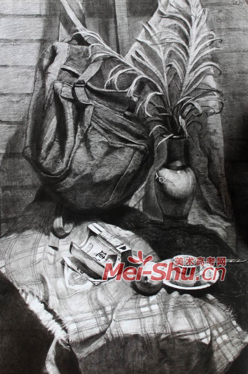 素描静物写生素描范画台布自行车轮胎绳子花瓶(2)