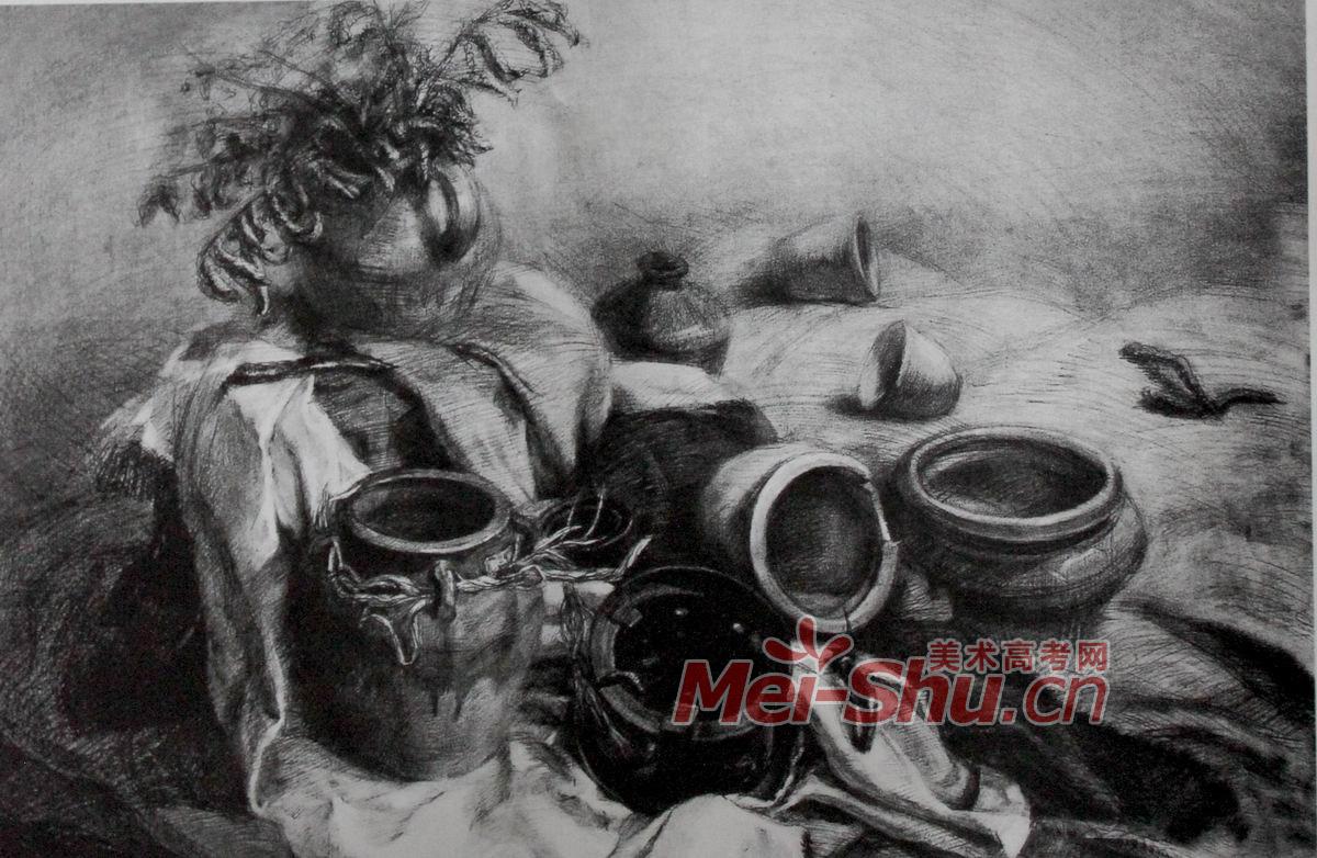 静物素描素描范画素描技法静物素描罐子蔬菜类技法