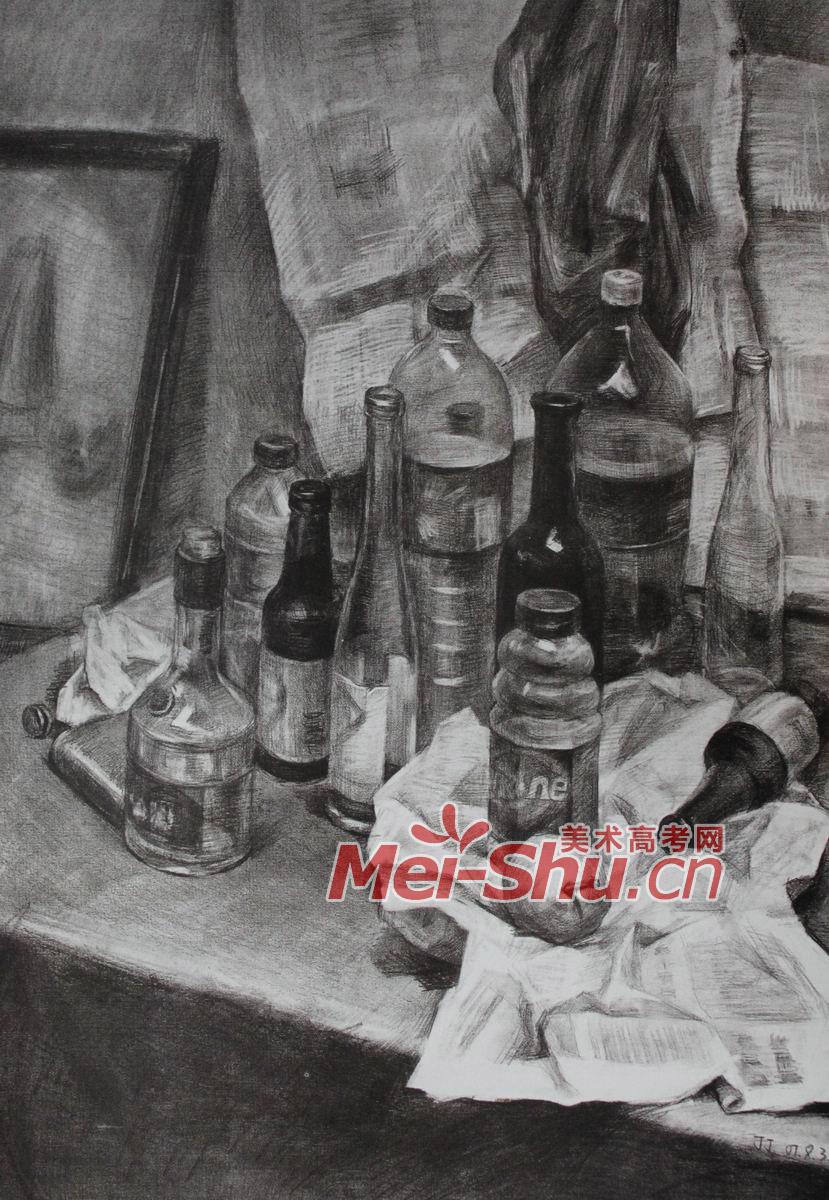 素描静物塑料器皿用品瓶子写生油桶瓶瓷器素描画像海报台布(4)