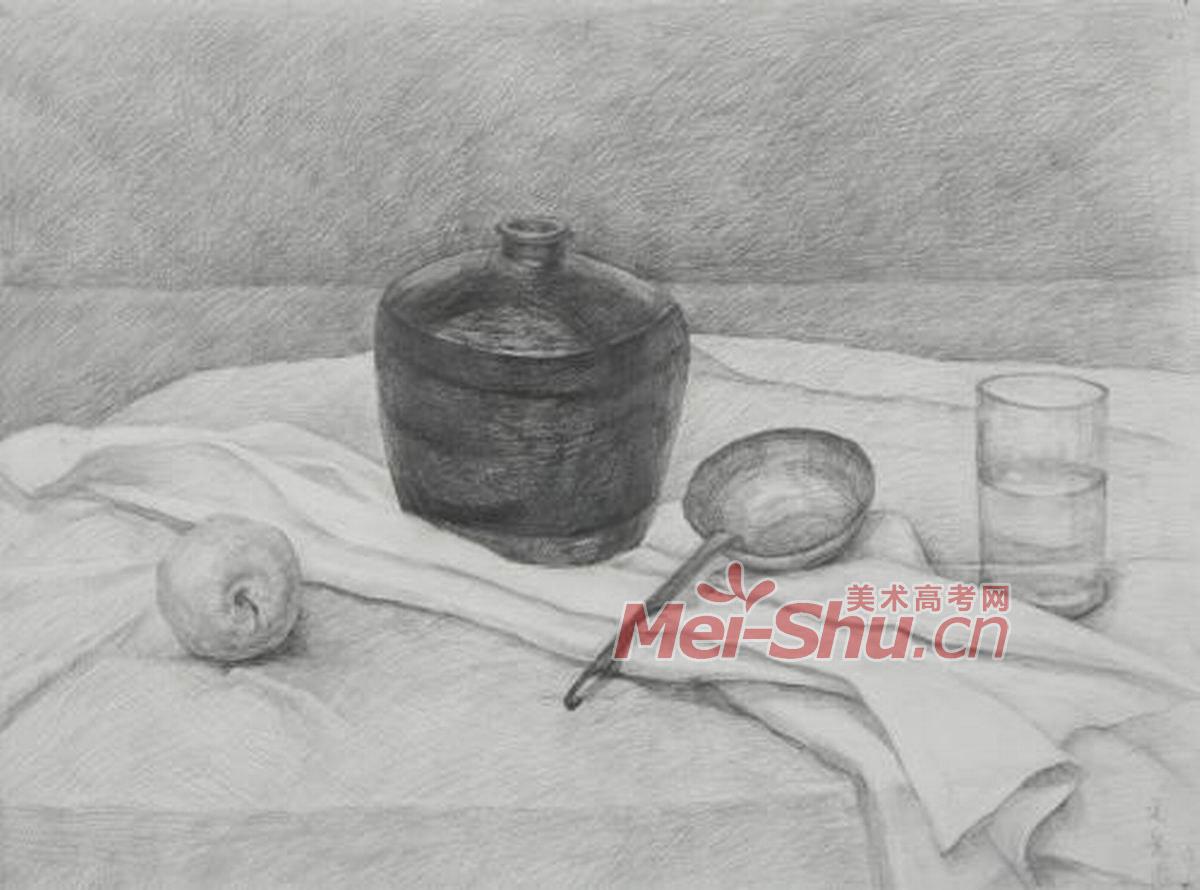 素描静物组合黑罐子范画台布玻璃杯梨子苹果(2)