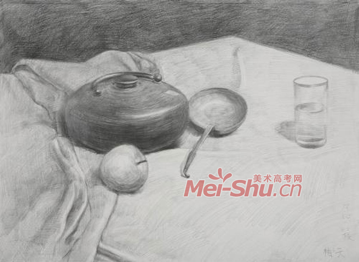 色彩静物素描罐子玻璃杯勺子技法(3)