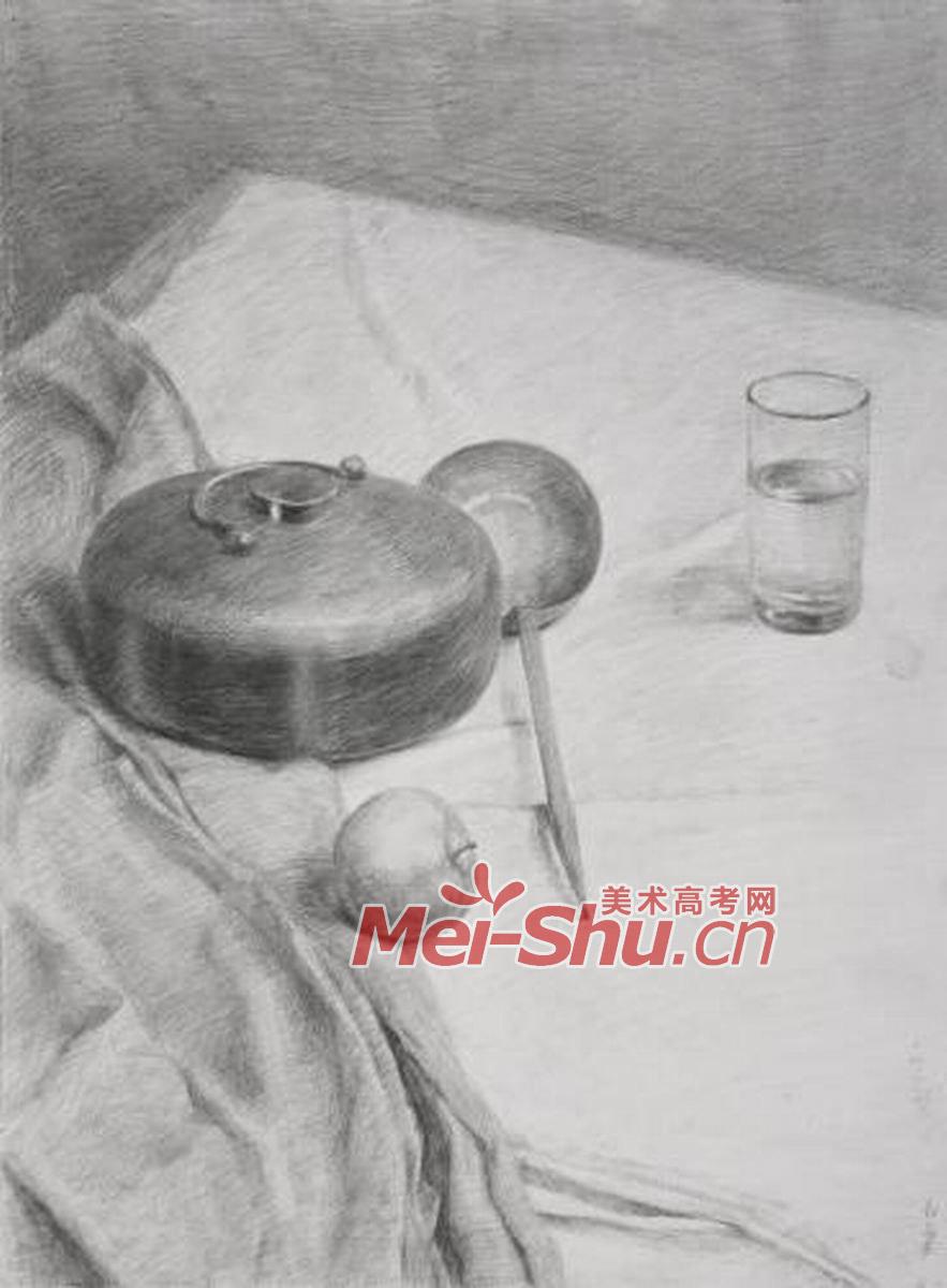素描静物组合写生技法玻璃杯勺子罐子金属器皿白色