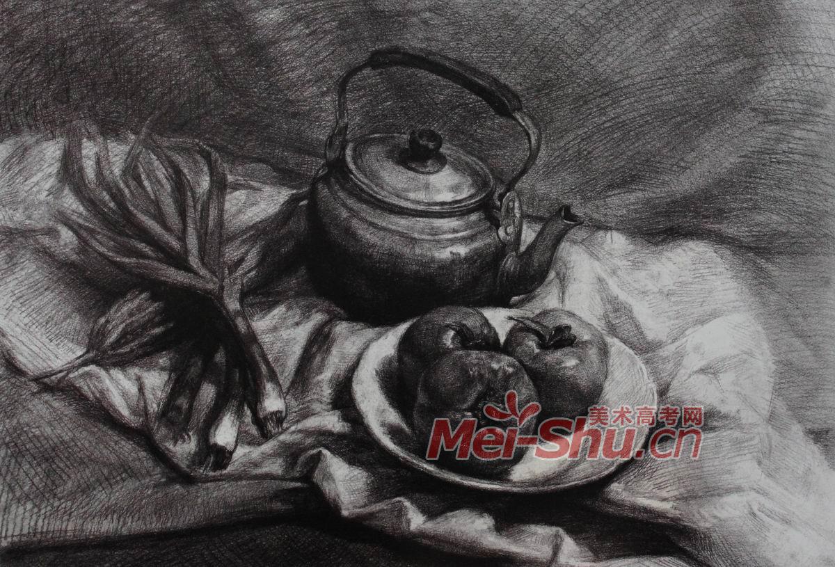 静物素描写生范画例图台布瓶子不锈钢生活用品(2)