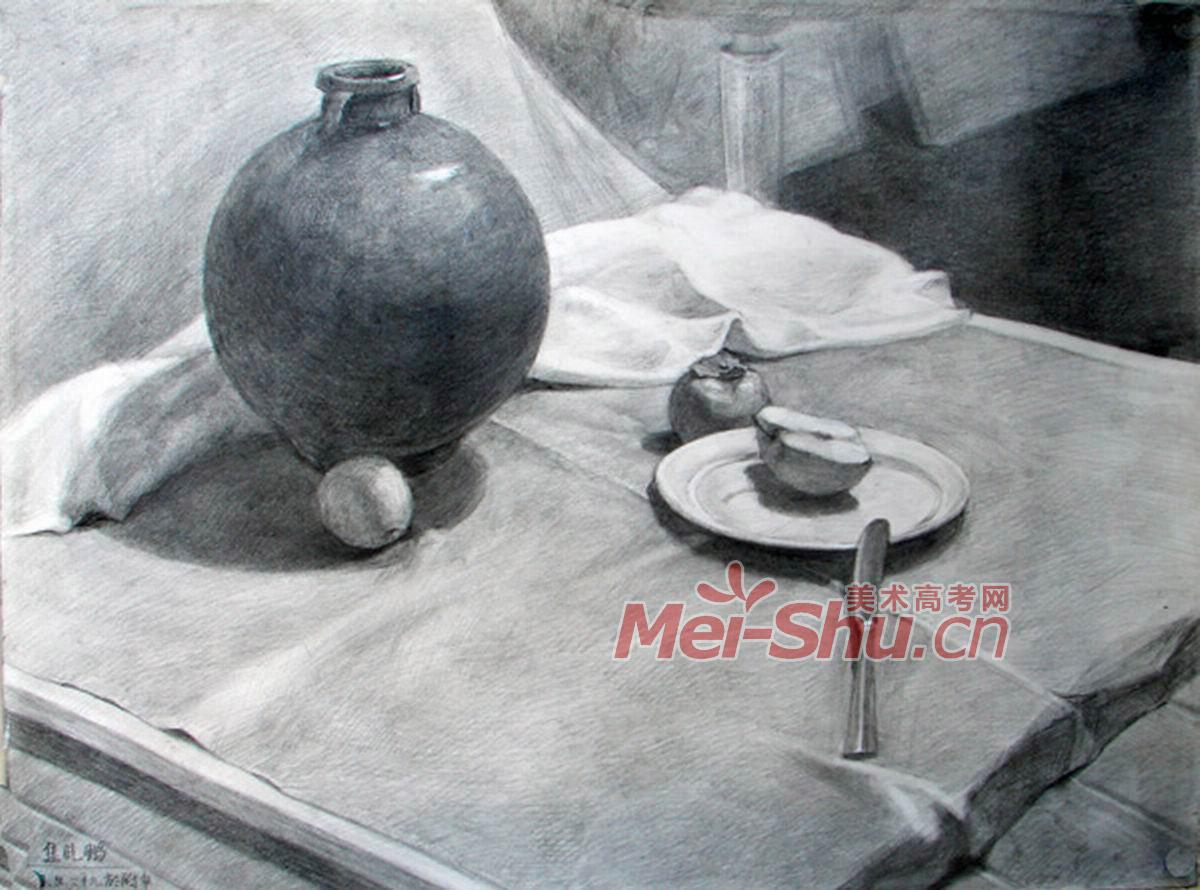 素描静物组合盘子平视水果刀柿子黑罐子梨子(4)