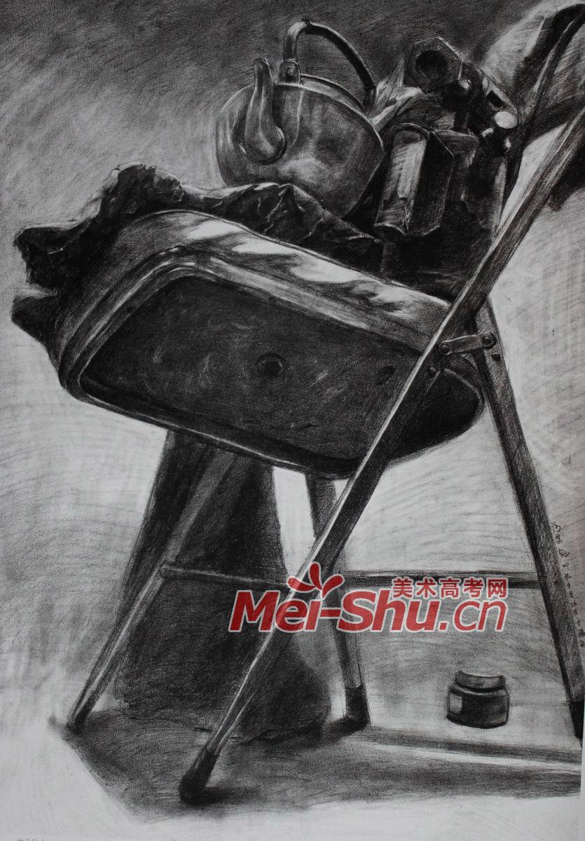 素描静物组合椅子裤子砖头鞋子(4)