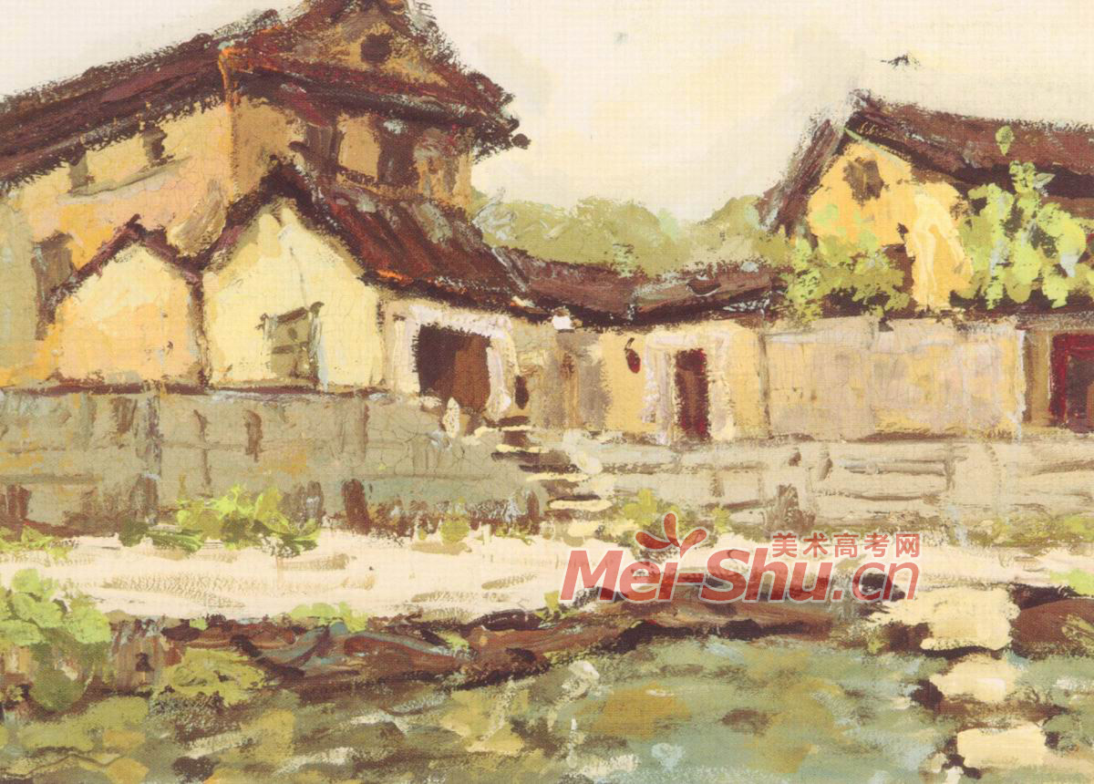 色彩风景写生房子夏天树水面湖水荷花