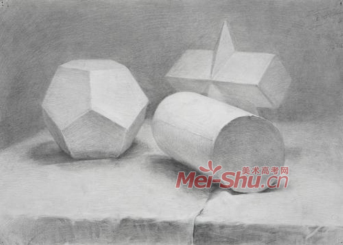素描几何体-圆柱体,四棱锥,方椎,十二面体,台布,几何体组合