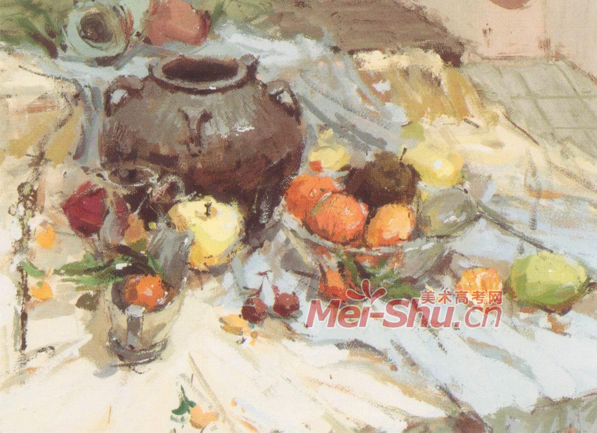 橘子,陶罐子,苹果,浅蓝色台布,玻璃盘子