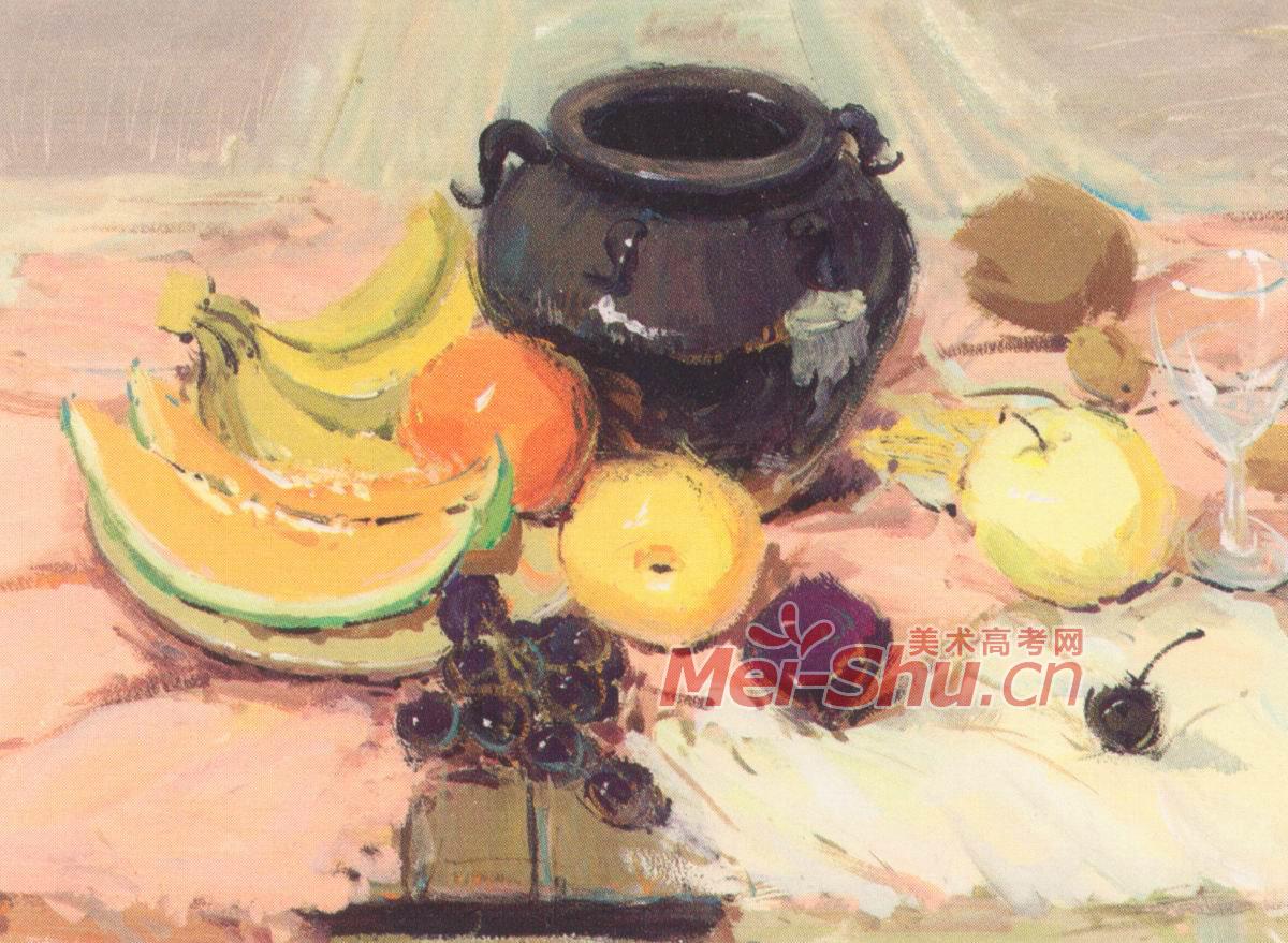 色彩静物组合苹果橘子黑色罐子粉红色台布画法葡萄