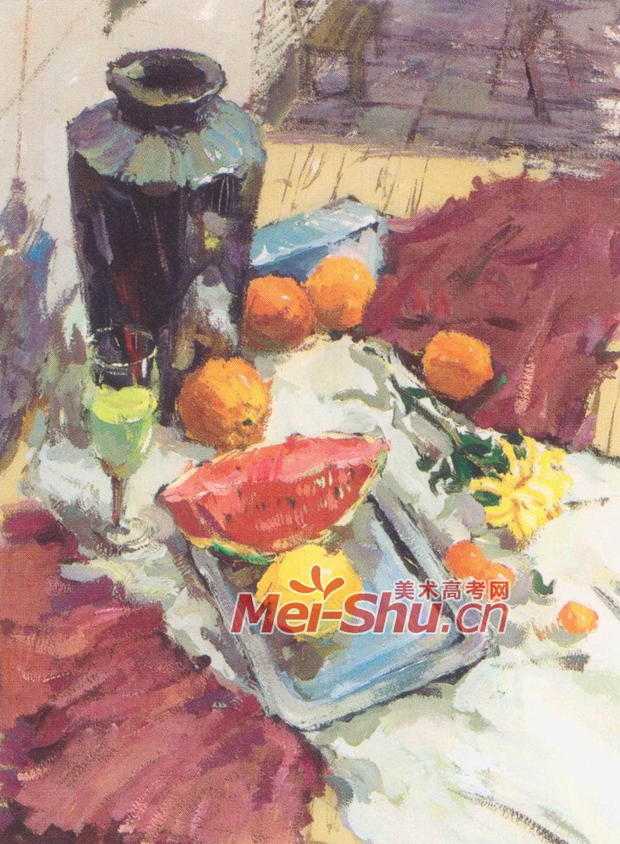 色彩静物组合范画水果梨子橘子水果刀陶罐子技法