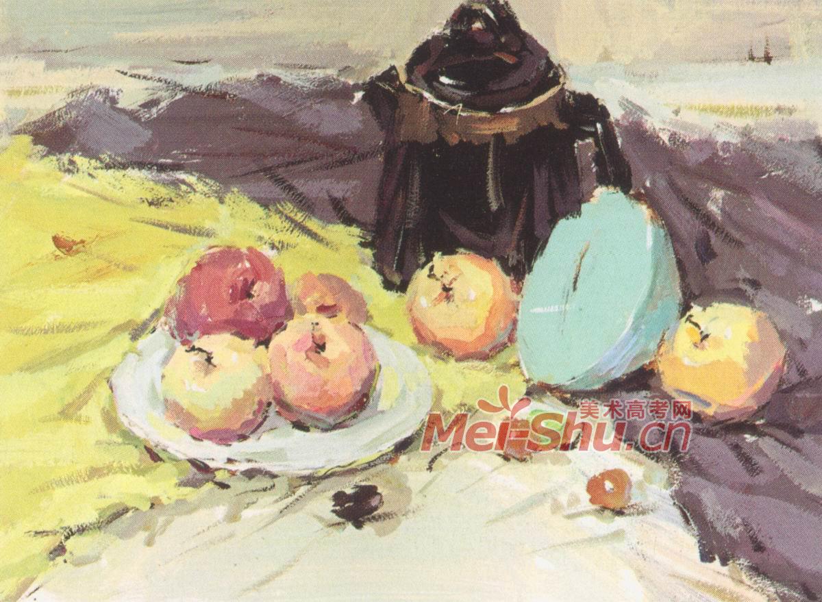 文具类色彩静物写生步骤图(书籍,陶罐,画笔,颜料