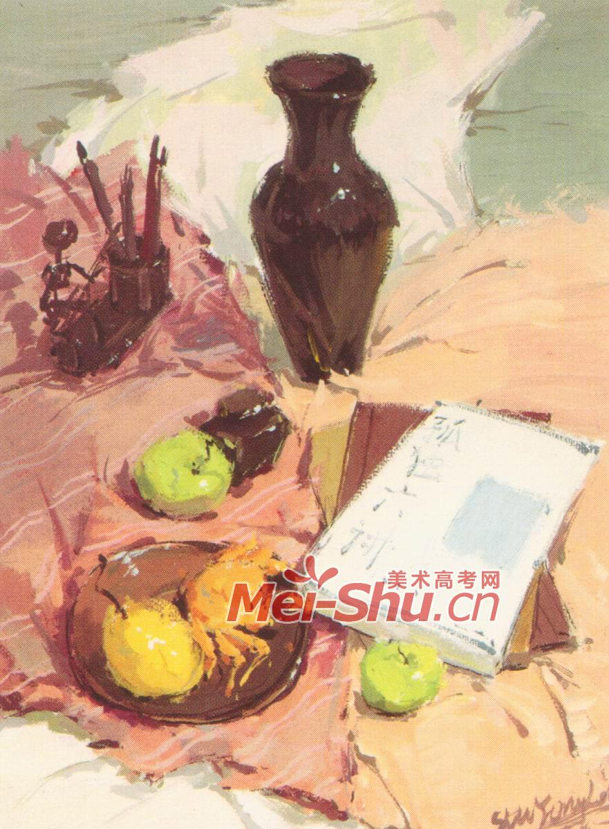 色彩静物例图苹果玻璃器皿陶罐子苹果瓷罐子(3)