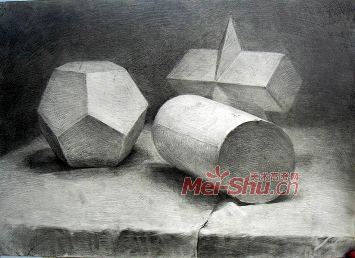单个石膏几何体素描大全 石膏几何体素描 素描几何体