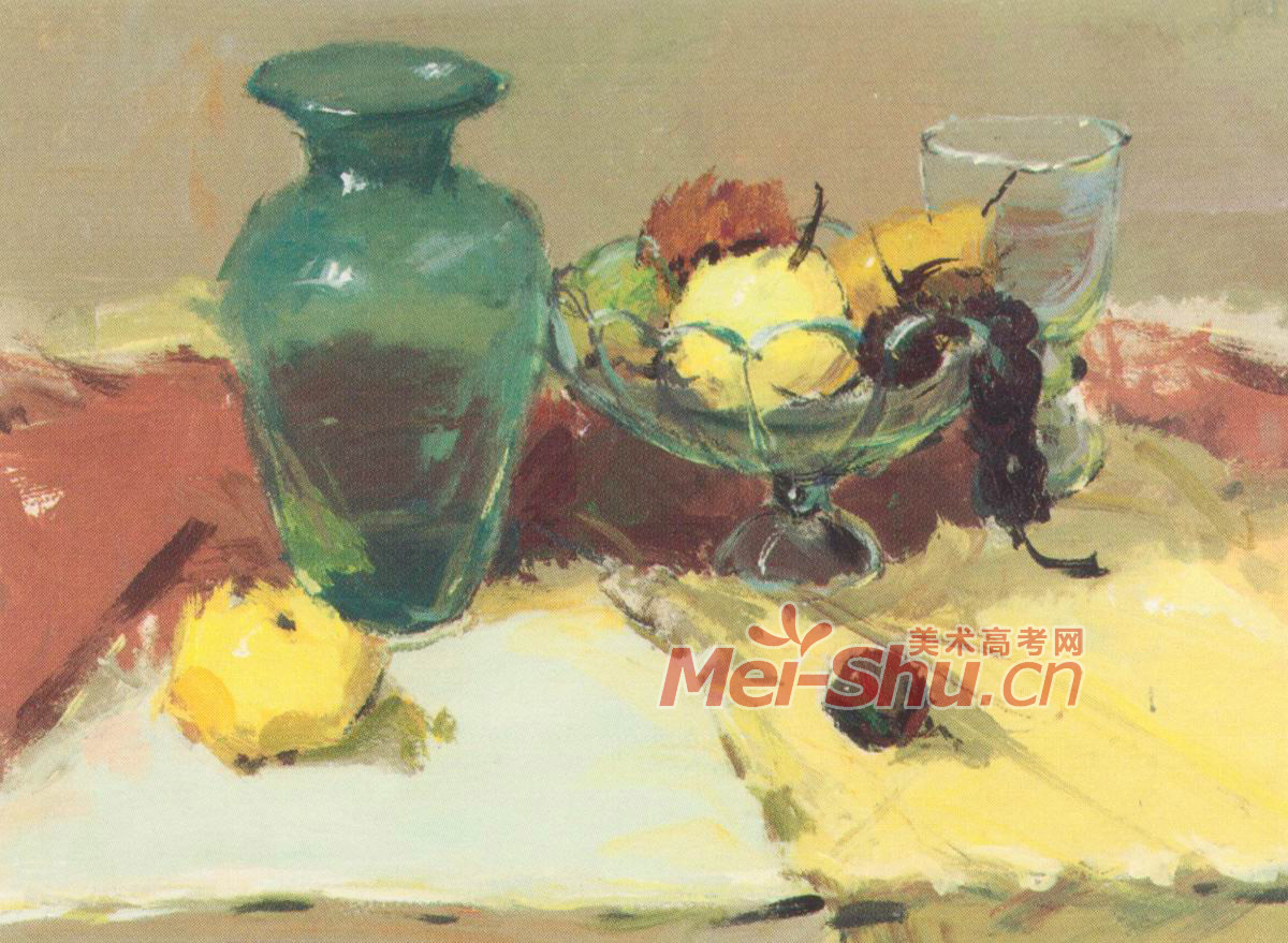色彩静物水粉画范画玻璃果盘玻璃器皿蔬菜类水果类 2