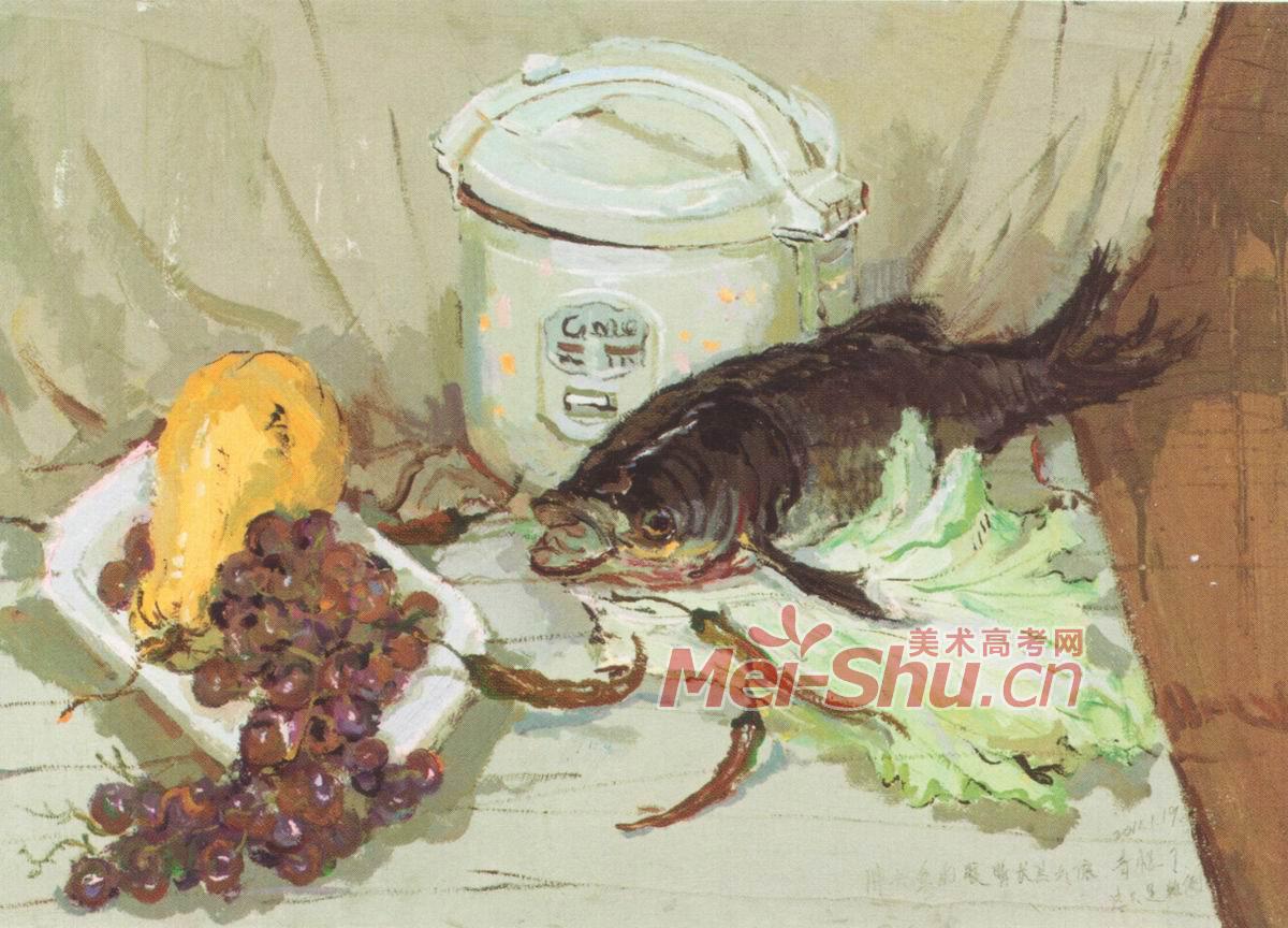 色彩静物水粉画范画玻璃果盘玻璃器皿蔬菜类水果类 3
