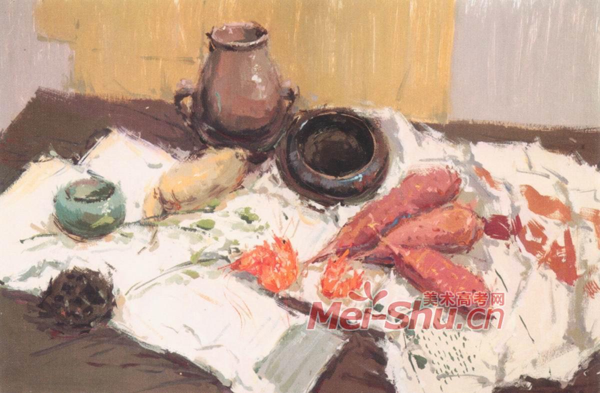 色彩静物水粉画范画玻璃果盘玻璃器皿蔬菜类水果类 4