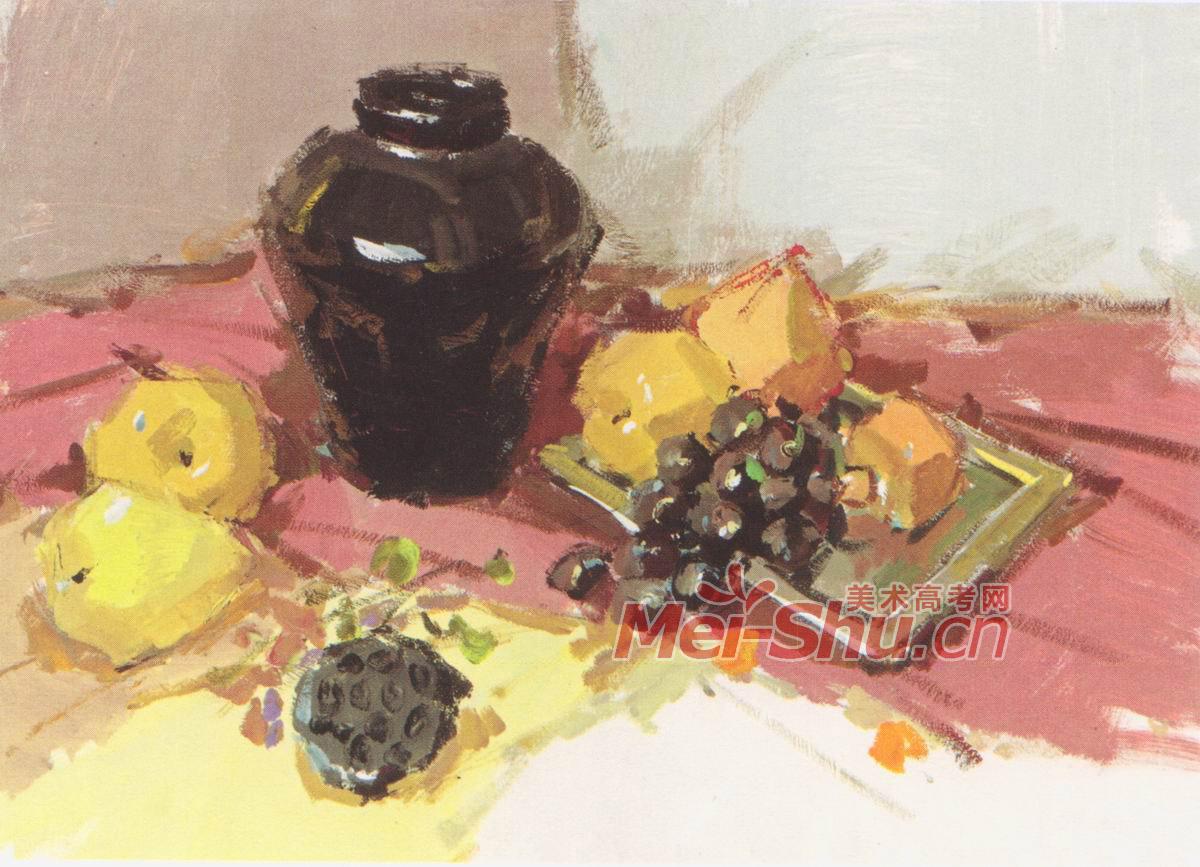色彩静物组合水粉静物罐子果子台布水果西红柿(4)