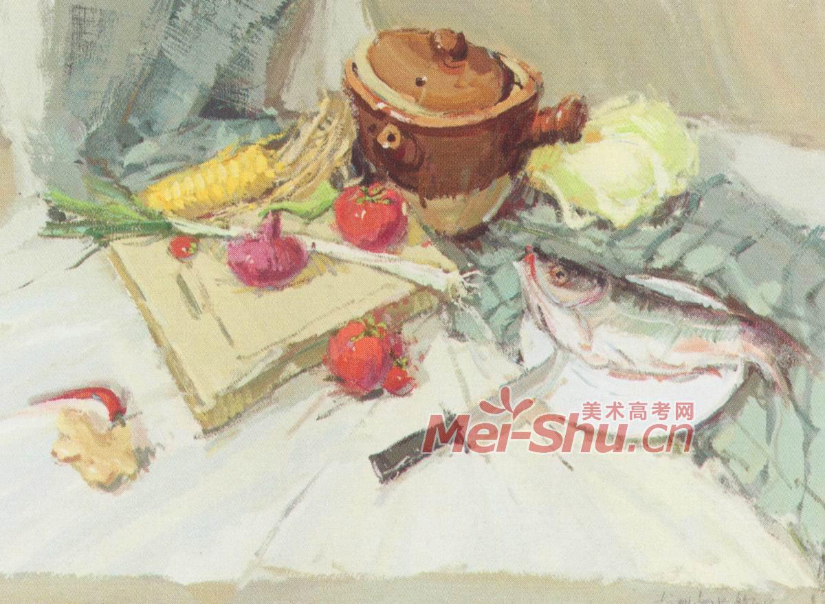 色彩静物水粉梨子水果组合陶罐; 央美水粉色彩静物; 白菜,玉米,梨子