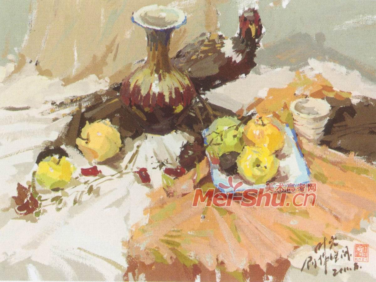 色彩静物香蕉花瓶苹果紫色台布白色台布橘子水粉画技巧 2