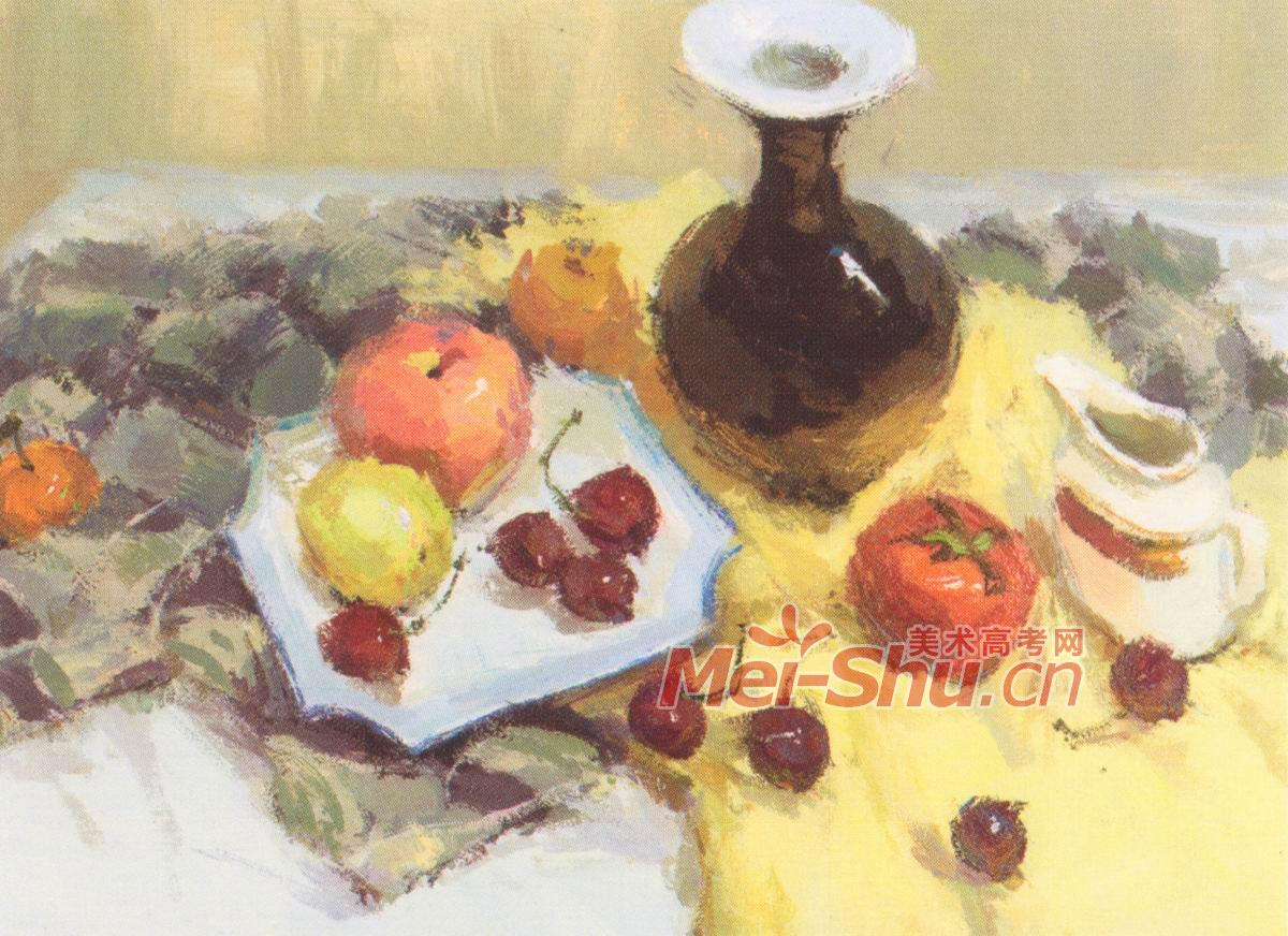 欣赏;; 色彩静物香蕉花瓶苹果紫色台布白色台布橘子水粉画; 色彩静物