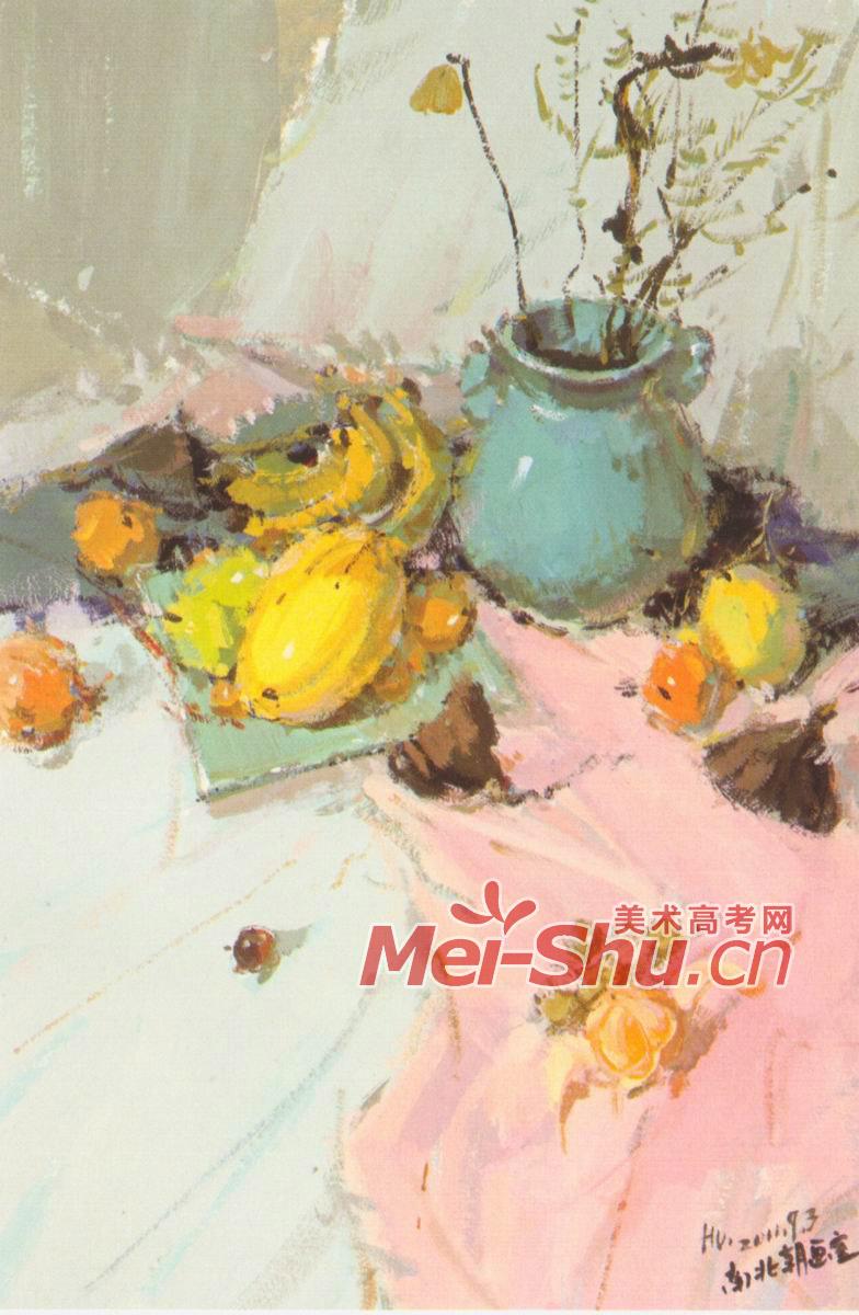 更多 色彩静物玻璃瓶,陶罐子,梨子,苹果,白盘子,粉红色台布,水粉画苹