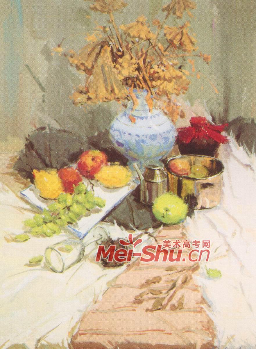 色彩静物组合范画不锈钢茶杯技法不锈钢器皿花瓶红辣椒 3