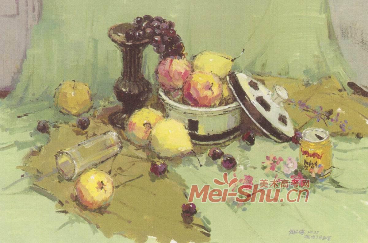 油画苹果橘子罐子结构图