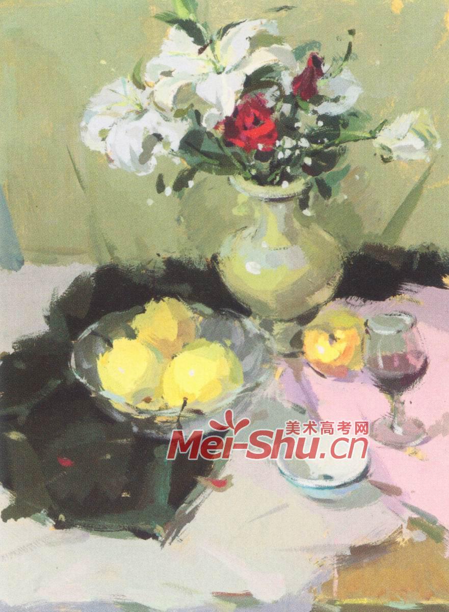 色彩 静物水粉 水彩画水果鲜花 花瓶 果子苹果梨子