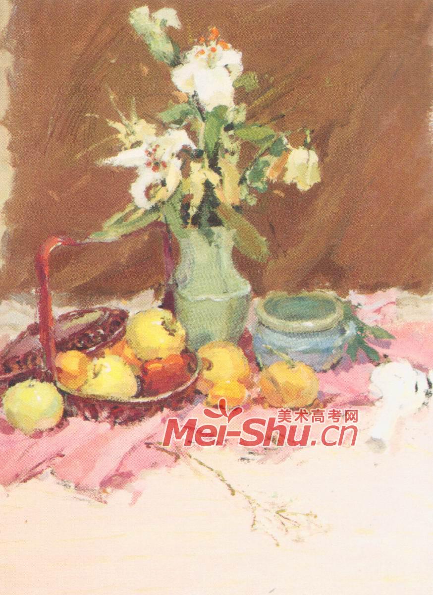 色彩静物水粉水彩画水果鲜花花瓶果子苹果梨子(5)