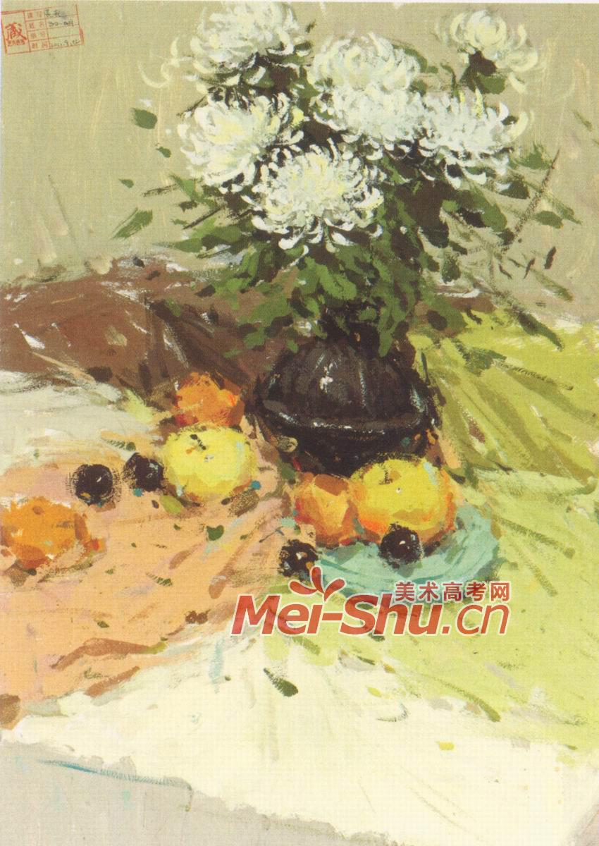 色彩静物组合黑色罐子白色花水果苹果黄梨