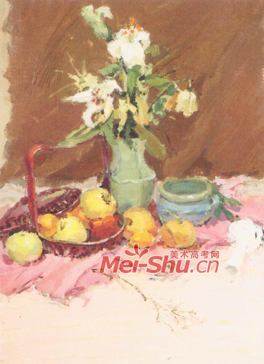 色彩静物百合花苹果红台布白色瓷盘橘红色台布(3)