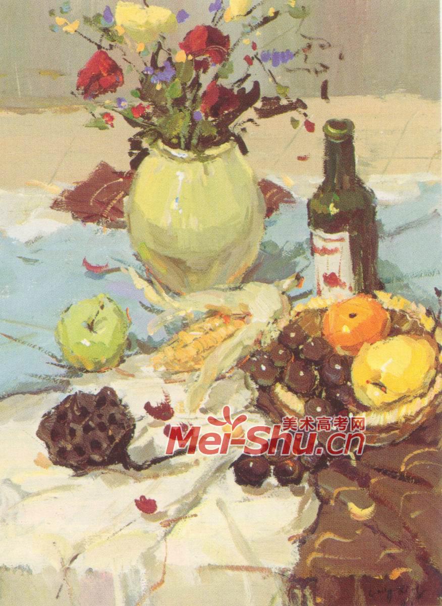 色彩静物瓷花瓶啤酒瓶玉米勺子葡萄红花(5)