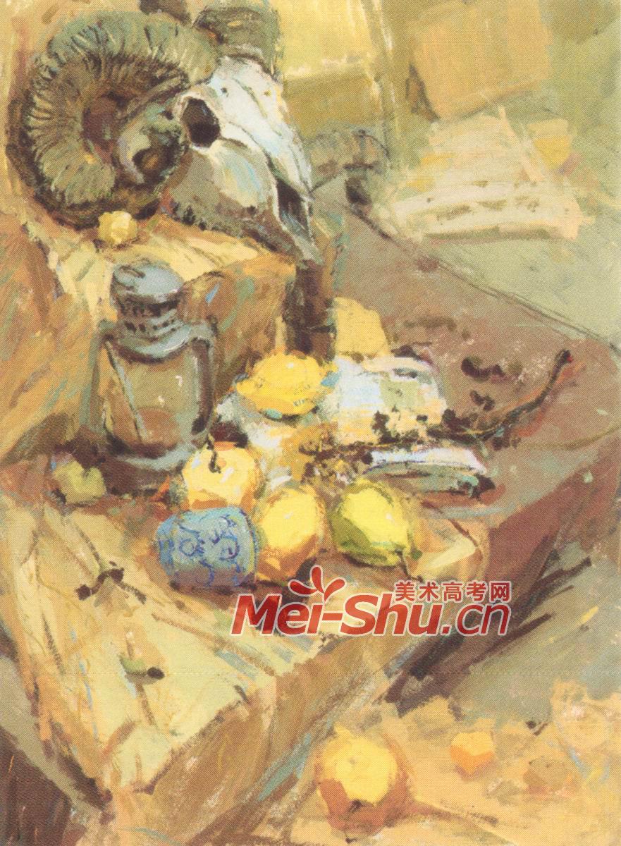 水粉画玫瑰花,煤油灯,梨子,橙子,水粉静物牛奶杯,菊花,苹果,玉