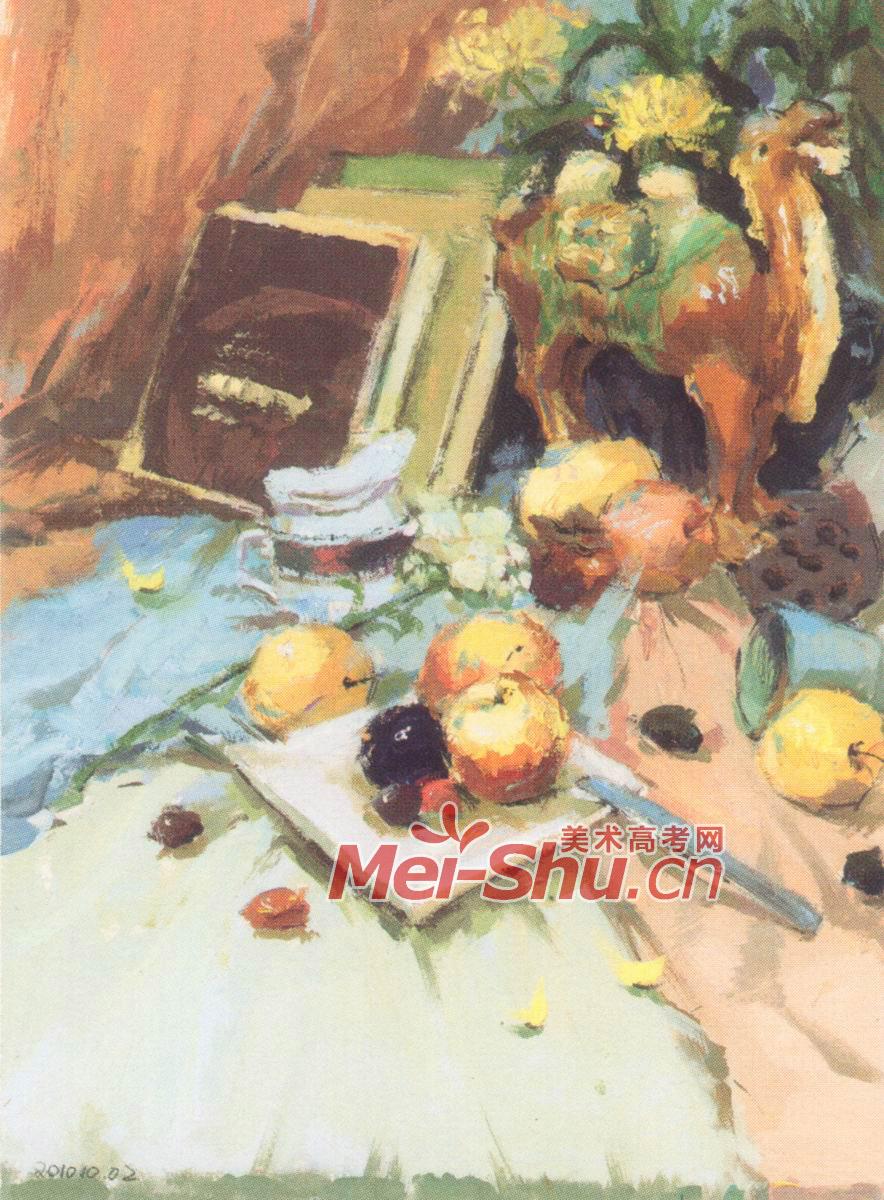 水粉画农泉山泉,桶,书籍,玫瑰花,水粉静物唐三彩,刀子,苹果,