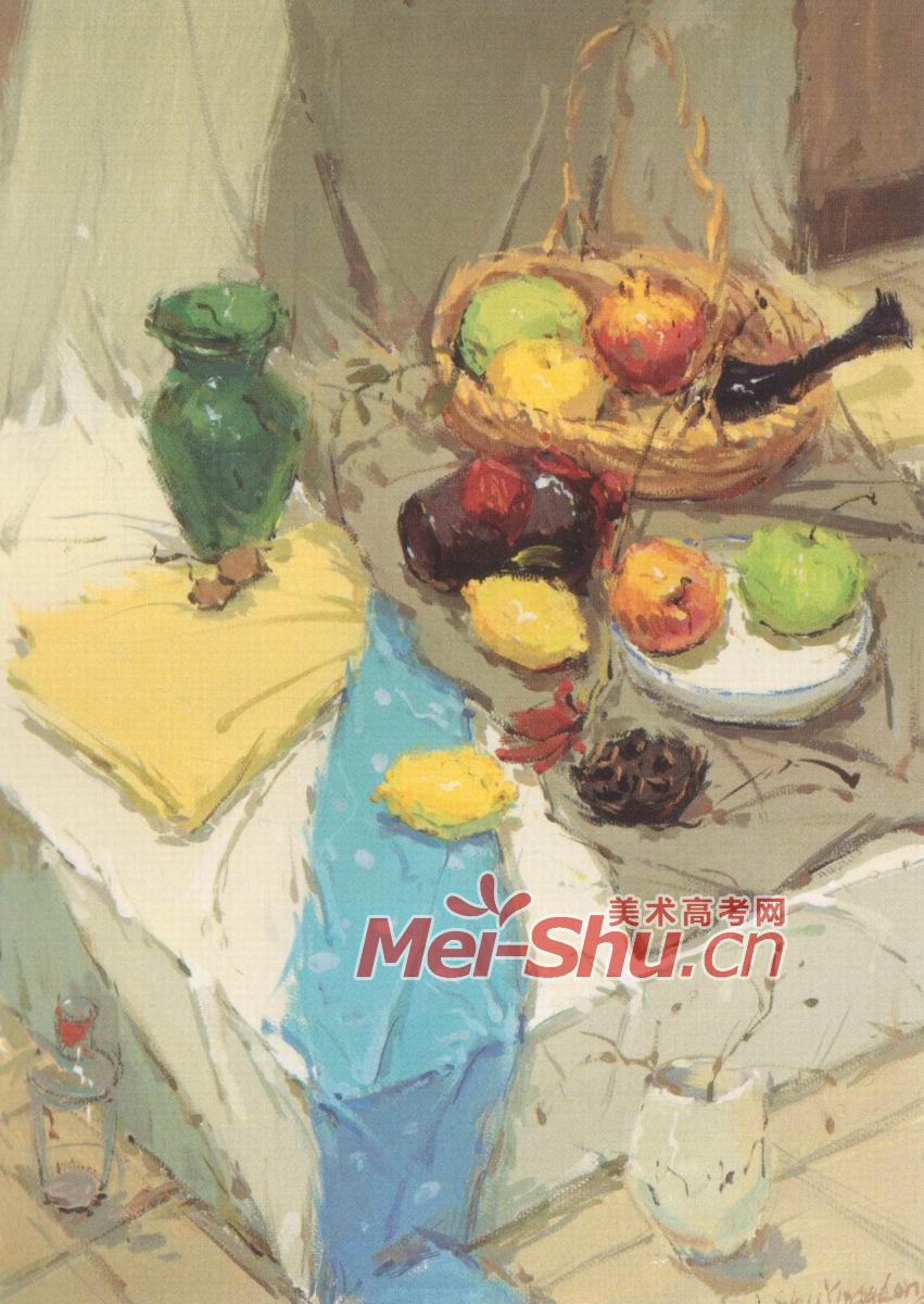 水粉画水果类熊猫玩具盘子瓷瓶绿苹果红苹果石榴酒; 酒罐子,芒果,青